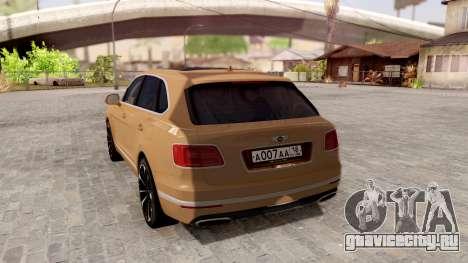 Bentley Bentayga для GTA San Andreas вид сзади слева