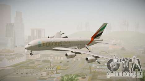 Airbus A380 Emirates Expo 2020 Dubai для GTA San Andreas вид сзади слева