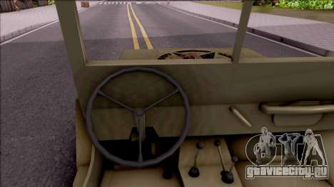 Jeep Willys MB Military для GTA San Andreas вид изнутри