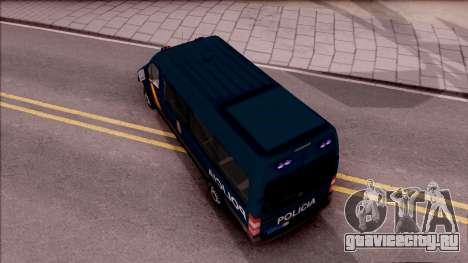 Mercedes-Benz Sprinter Spanish Police для GTA San Andreas вид сзади