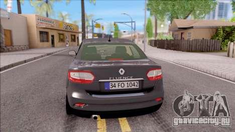 Renault Fluence 2016 для GTA San Andreas вид сзади слева