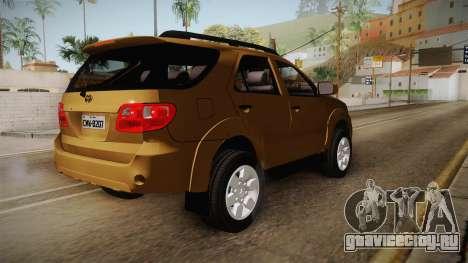 Toyota Fortuner V для GTA San Andreas вид сзади слева
