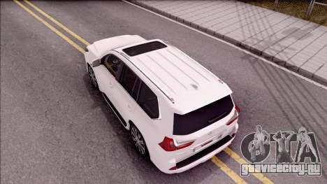 Lexus LX570 2016 для GTA San Andreas вид сзади