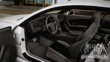 Bentley Continental SuperSport для GTA San Andreas вид изнутри