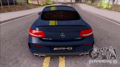 Mercedes-Benz C63S AMG Coupe 2016 v3 для GTA San Andreas вид сзади слева