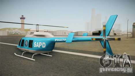 Serbian Police Helicopter для GTA San Andreas вид сзади слева