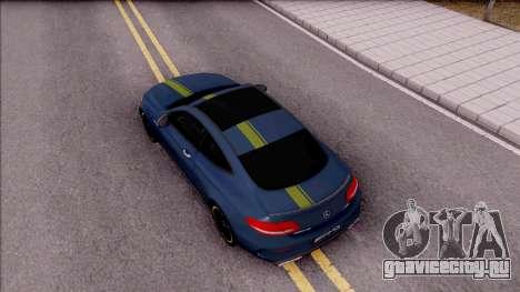 Mercedes-Benz C63S AMG Coupe 2016 v3 для GTA San Andreas вид сзади