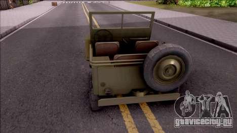 Jeep Willys MB Military для GTA San Andreas вид сзади слева