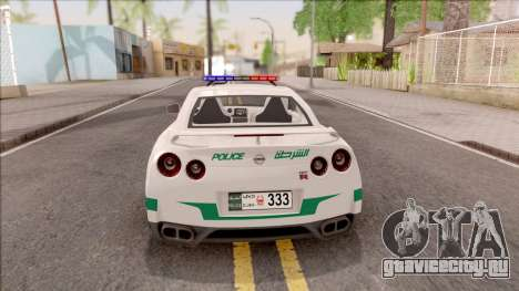 Nissan GT-R R35 Dubai High Speed Police для GTA San Andreas вид сзади слева
