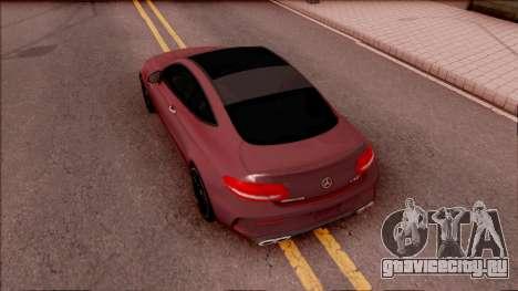 Mercedes-Benz C63S AMG Coupe 2016 для GTA San Andreas вид сзади