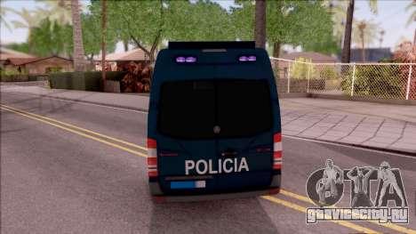 Mercedes-Benz Sprinter Spanish Police для GTA San Andreas вид сзади слева