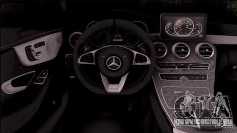 Mercedes-Benz C63S AMG Coupe 2016 v3 для GTA San Andreas вид изнутри