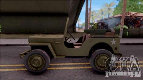 Jeep Willys MB Military для GTA San Andreas вид слева