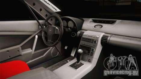 Infiniti G35 Rocket Bunny для GTA San Andreas вид изнутри