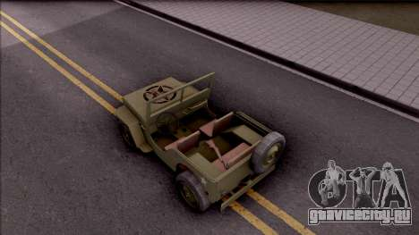 Jeep Willys MB Military для GTA San Andreas вид сзади