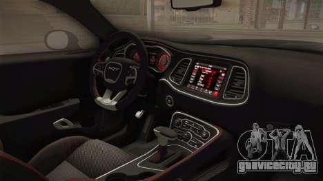 Dodge Challenger 2017 Drag для GTA San Andreas вид изнутри