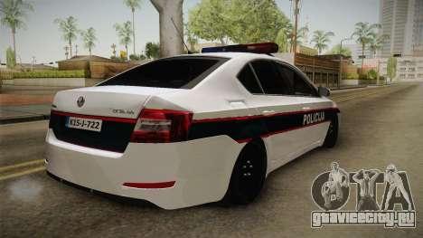 Skoda Octavia Police для GTA San Andreas вид справа