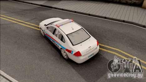 Chevrolet Impala Las Venturas Police Department для GTA San Andreas вид сзади
