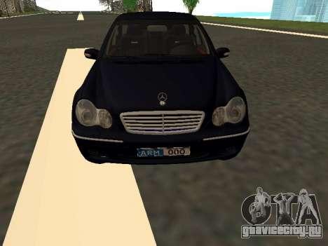 Mercedes-Benz C180 Armenian для GTA San Andreas вид изнутри