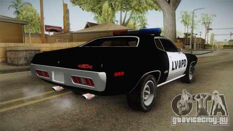 Plymouth GTX Police LVPD 1972 для GTA San Andreas вид справа
