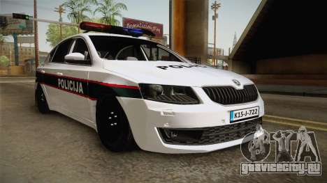 Skoda Octavia Police для GTA San Andreas вид сзади слева