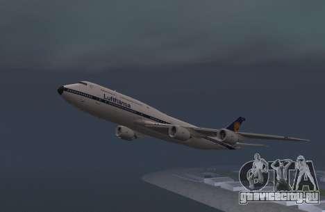 Авиакомпания Lufthansa 747-8и Ретро-ливрее для GTA San Andreas вид сзади слева
