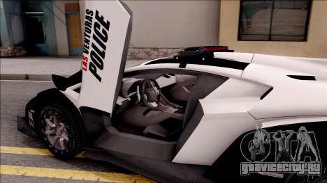Lamborghini Veneno Police Las Venturas для GTA San Andreas вид изнутри