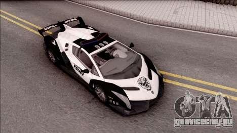 Lamborghini Veneno Police Las Venturas для GTA San Andreas вид справа