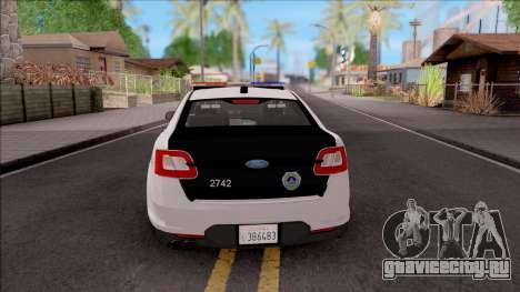 Ford Taurus 2011 Des Moines PD для GTA San Andreas вид сзади слева