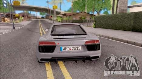 Audi R8 V10 Plus 2018 EU Plate для GTA San Andreas вид сзади слева