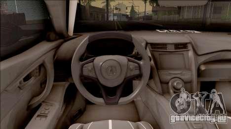 Acura NSX 2017 Stock Beta для GTA San Andreas вид изнутри