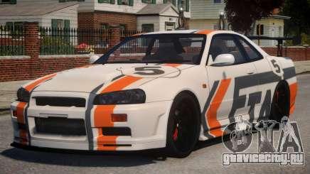 Nissan Skyline GT-R R34 PJ2 для GTA 4