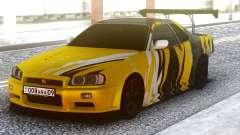 Nissan Skyline R34 GT-R Yellow & Black для GTA San Andreas