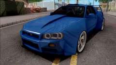 Nissan Skyline R34 GT-R Blue для GTA San Andreas