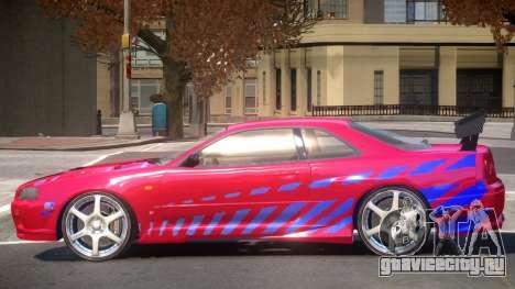 Skyline GT-R34 V1 PJ для GTA 4