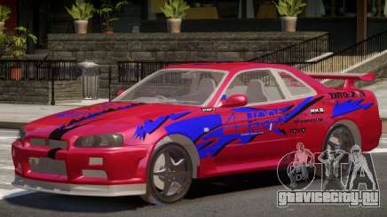 Skyline GT-R34 V1.0 PJ1 для GTA 4