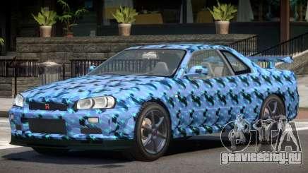 Nissan Skyline R34 GT-R V1.1 PJ3 для GTA 4