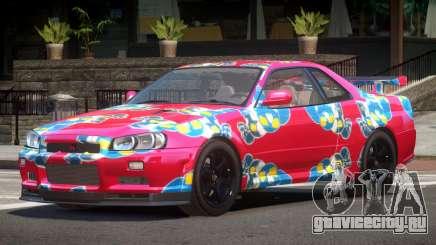 Nissan Skyline R34 E-Style PJ7 для GTA 4