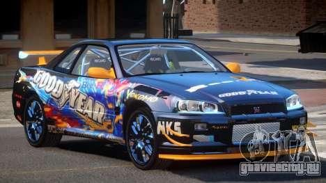 Nissan Skyline R34 R-Style для GTA 4