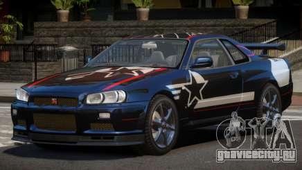Nissan Skyline R34 GT-Style PJ2 для GTA 4
