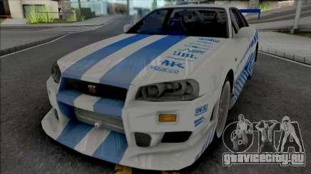 Nissan Skyline GT-R R34 C-West для GTA San Andreas